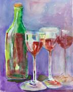 Wine Bottle Paintings - Red Wine by Delilah  Smith