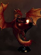 Wine-glass Posters - Red Wine Dragon Poster by Daniel Eskridge