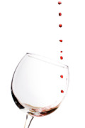 Glass Photo Originals - Red Wine Drops into Wineglass by Dustin K Ryan
