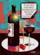 Red Wine Bottle Digital Art Framed Prints - Red Wine For Two Framed Print by Arline Wagner