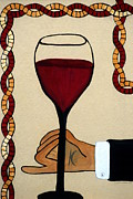 Wine Service Mixed Media Prints - Red Wine Glass Print by Cynthia Amaral