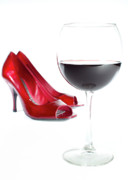 Red Shoes Framed Prints - Red Wine Glass Red Shoes Framed Print by Dustin K Ryan