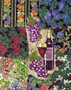 Wine Grapes Tapestries - Textiles Posters - Red Wine Poster by Loretta Alvarado