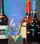 Wine Bottles Pastels - Red WIne by Will Sellers