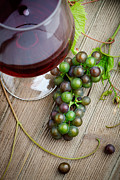 White Grape Prints - Red wine with grapes Print by Kati Molin