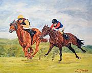 Thoroughbred Race Paintings - Red wins by Jana Goode