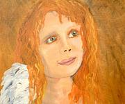 Angels Painting Originals - Red wishes by J Bauer