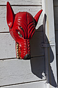 White Wall Posters - Red Wolf Mask Poster by Garry Gay