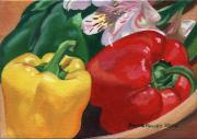 Pepper Paintings - Red Yellow Green by Arlene Kelley
