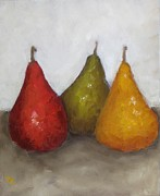 Bistro Paintings - Red Yellow Green Pears by Patricia Cleasby