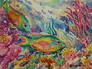 Fish Underwater Paintings - Redband Parrotfish by Deborah Younglao
