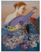 Redbird Sings To Farie Print by Pamela Mccabe