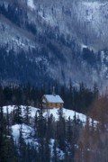 Log Cabin Art Photos - Redcloud Chapel in Blue by David Ackerson