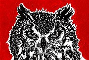 Lino Framed Prints - Redder Hotter Eagle Owl Framed Print by Julia Forsyth