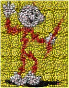 Mosaic Mixed Media - Reddy Kilowatt Bottle Cap Mosaic by Paul Van Scott