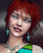 Green Skin Digital Art - Redhead by Jutta Maria Pusl