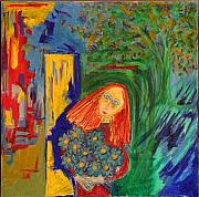 Contemplative Paintings - Redhead with Flowers by Maggis Art