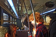 Crowd Scene Art - Redheaded Man on a NY Bus by Alex AG