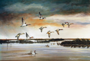 Evening Scenes Art - Redheads in Flight by Raymond Edmonds