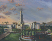 Yellow Flowers Painting Prints - Redlands Temple Print by Jeff Brimley