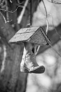 Cowboy Photos Prints - Redneck Cowboy Boot Birdhouse BW Print by James Bo Insogna