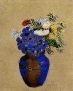 Redon Framed Prints - Redon: Vase Of Flowers Framed Print by Granger