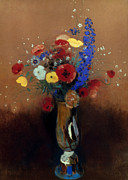 Redon Framed Prints - REDON: WILD FLOWERS, c1912 Framed Print by Granger