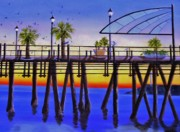 Piers Painting Framed Prints - Redondo Beach Pier Framed Print by Jamie Frier