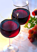Wine Illustrations Framed Prints - Reds at Afternoon Framed Print by Elaine Plesser