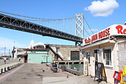 China Basin District Prints - Reds Java House and The Bay Bridge at San Francisco Embarcadero . 7D7712 Print by Wingsdomain Art and Photography