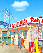 San Francisco Landmarks Digital Art Metal Prints - Reds Java House and The Bay Bridge at San Francisco Embarcadero Metal Print by Wingsdomain Art and Photography