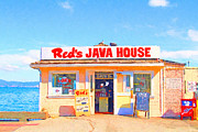 San Francisco Landmarks Digital Art Metal Prints - Reds Java House at San Francisco Embarcadero Metal Print by Wingsdomain Art and Photography