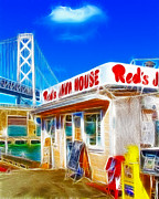 San Francisco Oakland Bay Bridge Posters - Reds Java House Electrified Poster by Wingsdomain Art and Photography