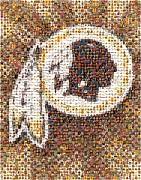 Redskins Mosaic Print by Paul Van Scott