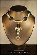 Smokey Quartz Jewelry - REDUCED - Square Smokey Quartz and Aqua Glass Crystal Necklace by Janine Antulov