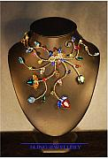 Food And Beverage Jewelry Originals - REDUCED - Twisted Wire Multi-coloured Crystal Necklace No 3 by Janine Antulov