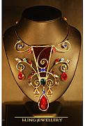 Metal Jewelry - REDUCED Cranberry Glass and Swarovski Crystal Scroll Necklace by Janine Antulov