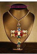 Metal Jewelry - REDUCED Huge Multi Coloured Bling Cross by Janine Antulov