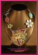 Petals Jewelry - REDUCED Large Foiled Flower Multi Coloured Encrusted Necklace by Janine Antulov