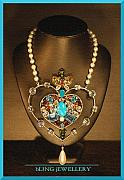 Soldered Jewelry - REDUCED Large Heart Multi Coloured Crystal and Pearl Necklace by Janine Antulov