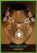 Food And Beverage Jewelry - REDUCED Spring Flower Multi Coloured Festoon Necklace by Janine Antulov
