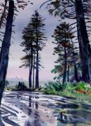 Rainy Day Paintings - Redwood Reflections   by Donald Maier