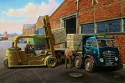 1950s Truck Painting Framed Prints - Reed Paper Foden FG Framed Print by Mike  Jeffries