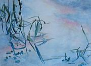 Reeds Painting Originals - Reeds at Sunset by Jenny Armitage