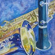 Sax Art Paintings - Reeds Between Sets by Jenny Armitage
