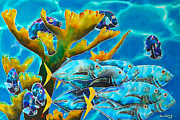 Blue Art Tapestries - Textiles Prints - Reef Fish Print by Daniel Jean-Baptiste