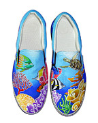 Red Shoes  Tapestries - Textiles Posters - Reef Walkers Poster by Adam Johnson