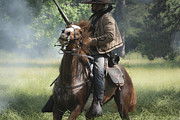 Saddle Mixed Media Posters - Reenactor and His Horse Poster by Kim Henderson
