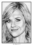 Award Drawings Posters - Reese Witherspoon in 2010 Poster by J McCombie
