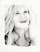 Reese Framed Prints - Reese Witherspoon Framed Print by Rosalinda Markle